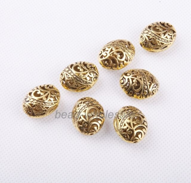 10pcs Antique Gold Tibetan silver Ellipse Shaped Hollow Spacer Bead Findings