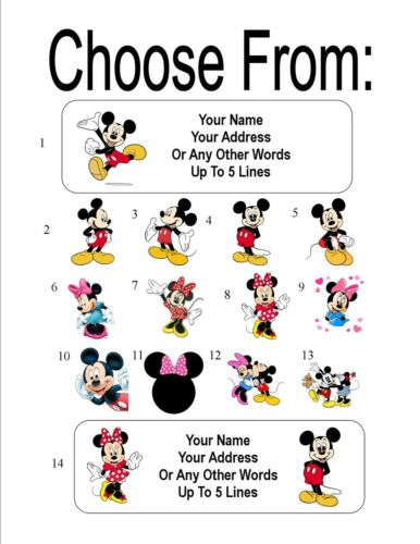 30 Mickey and//or Minnie Mouse Personalized Address Labels