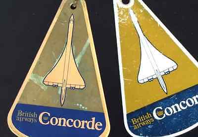 2 CONCORDE British Airways Postcards and 1976 baggages Tags