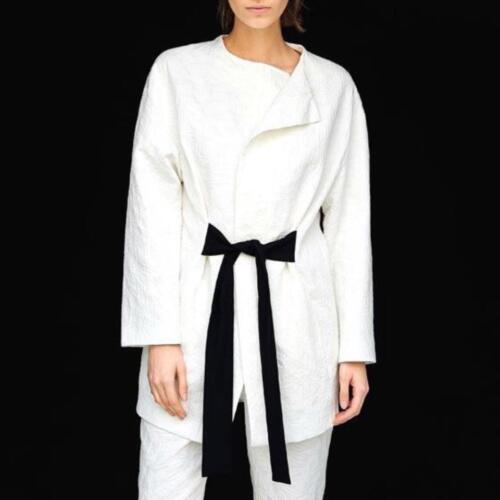 Zara Long Jacket Belt Lange Gürtel Blazer Off Mit Jacke White Contrast Jacquard qpr7Bgp