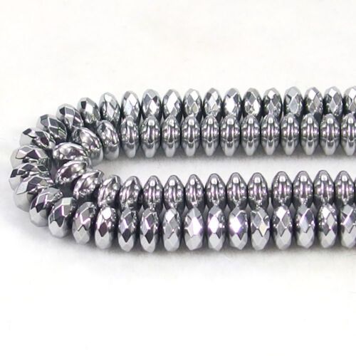 Natural Hematite Gemstone Rondelle Spacer Beads 16/'/' 3mm-12mm Smooth Faceted DIY