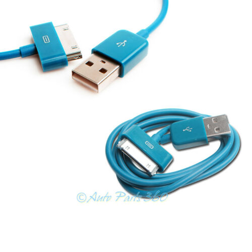 10 10FT 30PIN USB SYNC DATA POWER CHARGER AQUA BLUE CABLE IPHONE IPOD TOUCH IPAD