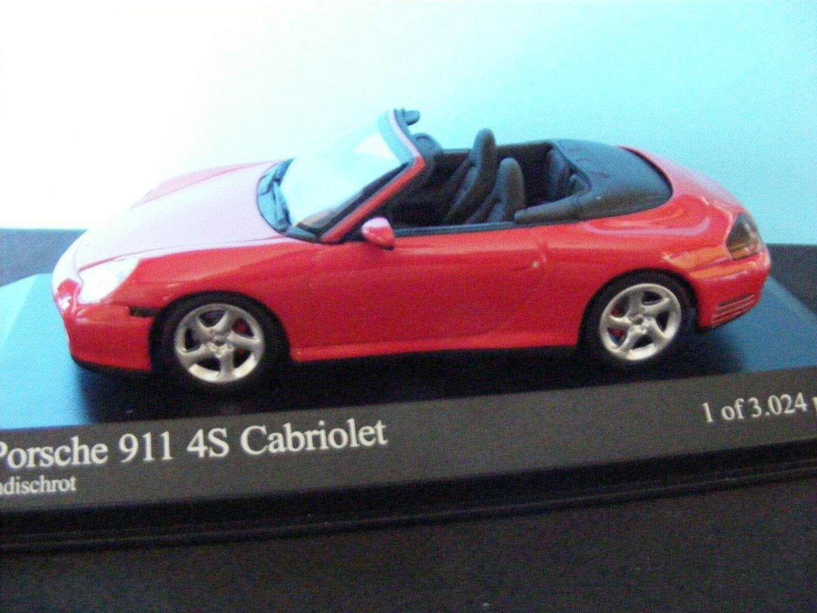 Porsche 911 4S  Cabriolet in INDISCHred 1 of 3024 pcs  a Minichamp 1 43RD. .