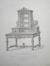 Bureau de fantaisie vieux chéne GRAVURE le GARDE-MEUBLE MIDART XIXéme