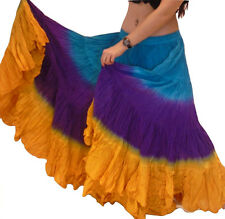 "Turq Purple Mustard Tribal gypsy 25 yards belly dance dancing cotton skirt 36"""