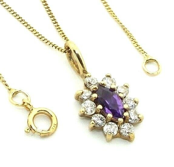 Ladies womens 9ct 9carat yellow gold CZ stoned pendant on a fine 18  curb chain