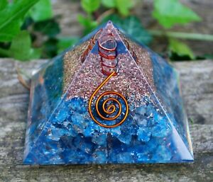 Details about REIKI CHARGED LARGE APATITE & CLEAR QUARTZ CRYSTAL ORGONE  ORGONITE PYRAMID