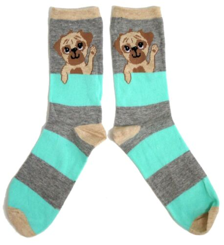 LADIES PUG DOG WAVING GREY /& GREEN STRIPED SOCKS ONE SIZE