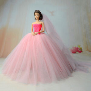 Pink-Party-Dresses-Long-Tail-Evening-Gown-Clothes-For-Barbie-Doll-Wedding-Dress