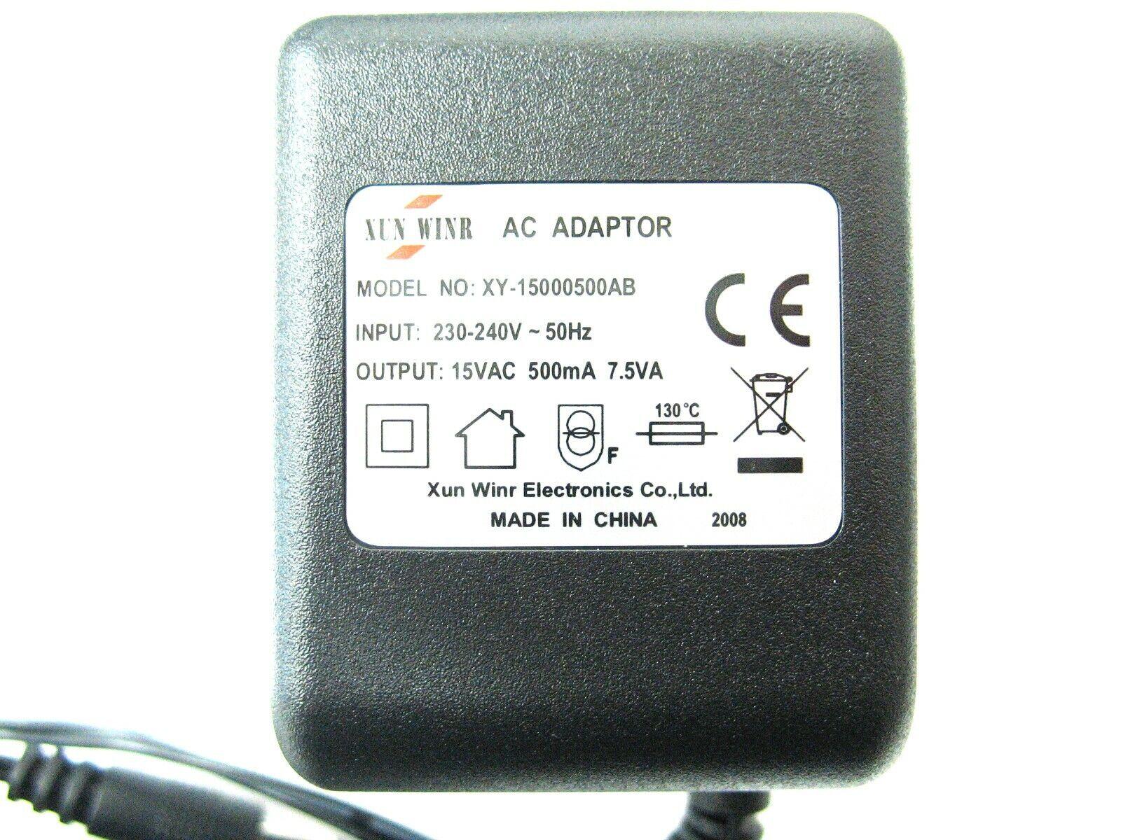 500ma 15v AC-AC (AC Output) Mains Power Adaptor/Supply/Charger 0.5a, 7.5w, 7.5va