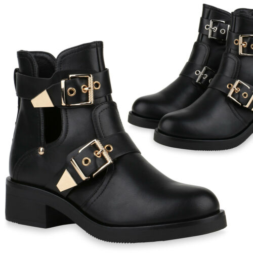Damen Ankle Boots Cut Out Stiefeletten Schnallen Schuhe Booties 832228 Trendy