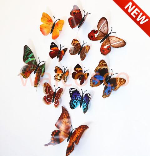 Mag 3D Mariposa Calcomanía Pegatinas De Pared Decoración De Hogar hágalo usted mismo ART Sala De Niños Nuevo 12 un
