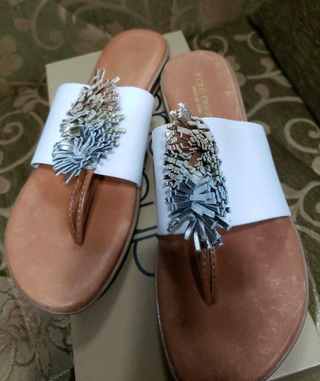 Andre Assous White Novalee Elastic Textile Fringe Thong Sandal shoes 6 NIB  98