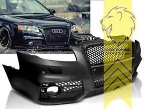 Frontstossstange-fuer-Audi-A4-B7-8E-auch-fuer-S4-und-S-Line-Sportgrill-schwarz-PDC