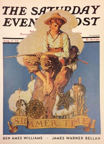 VTG Norman Rockwell Art Print Saturday Evening Post FISHING ** SEE VARIETY