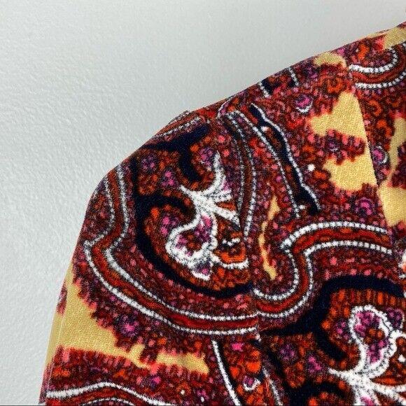 Talbots Paisley Stretch Velvet Red Blazer   70's … - image 4