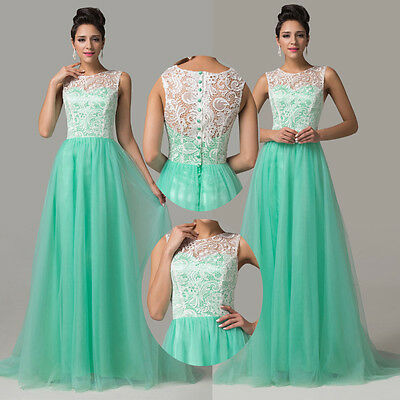 2015 Long LACE Formal Cocktail Bridesmaid Homecoming Evening Prom Wedding Dress