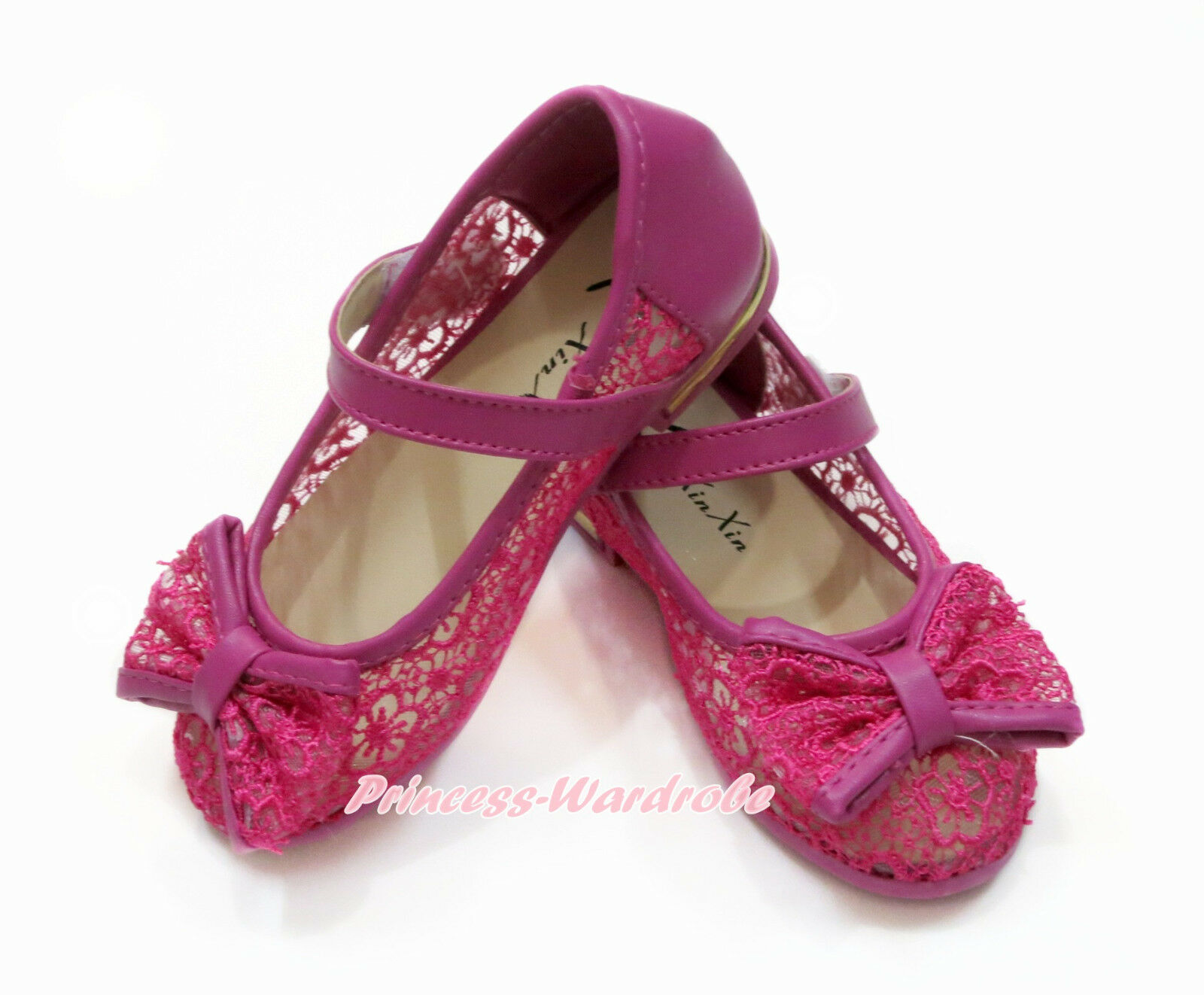 Hot Pink Lace Flower See Through Bow Kids Girl Mary Jane School