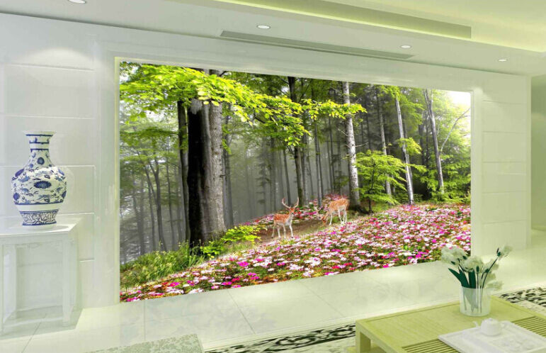 3D Forest Deer Leaf Paper Wall Print Decal Wall Wall Murals AJ WALLPAPER GB