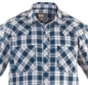 Guide-Gear-Plaid-Western-Men-039-s-Shirt-Blue-Sizes-M-L-XL