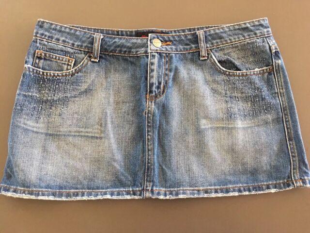 Ladies BLOCKOUT Blue Denim Skirt Size 12 Mini Short Faded