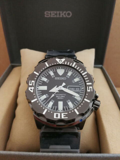 NEW Seiko Automatic Scuba Diver's 200m Black Night Monster Watch SZEN002