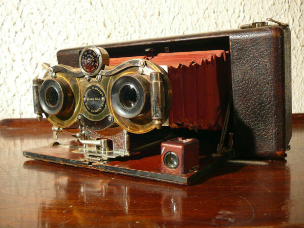 Actif Rare Blair Hawkeye Antique Stéréo Camera Model N°2