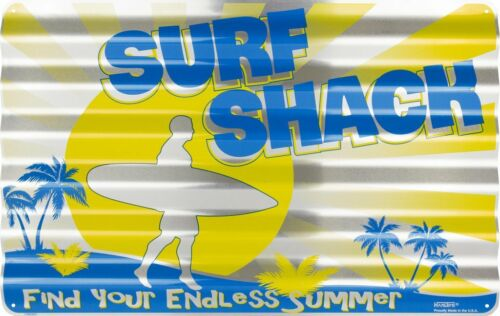 "SURF SHACK CORRUGATED METAL SIGN 18X12/"" TIN RETRO MANCAVE ENDLESS SUMMER BEACH"