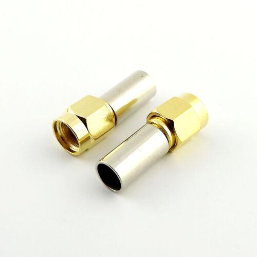 100x SMA Male Plug Straight Crimp for RG58 RG142 RG223 RG400 LMR195 RF Connector