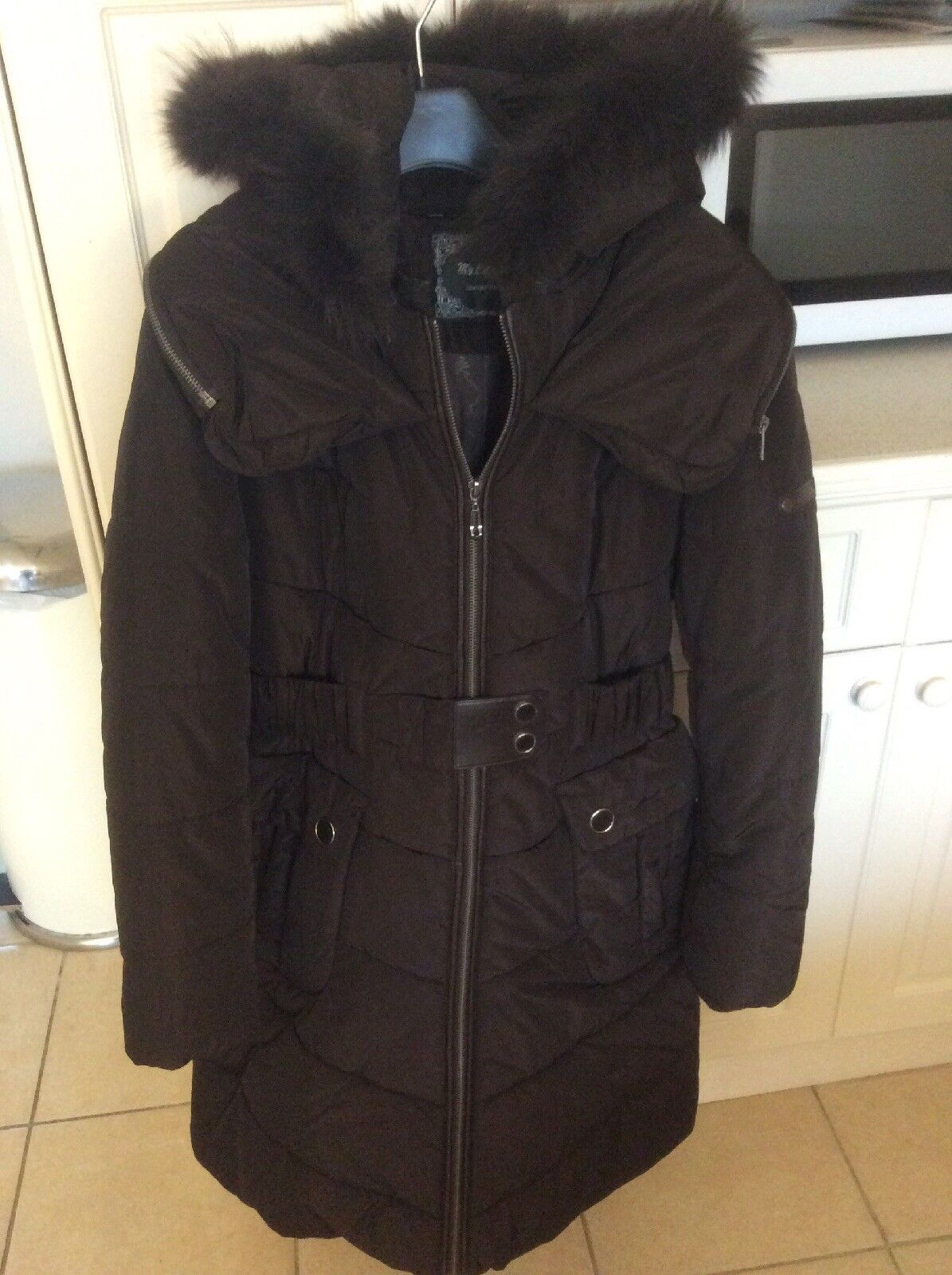 My Collection. Brown Knee Length Detachable Hooded Coat With Belt Detail
