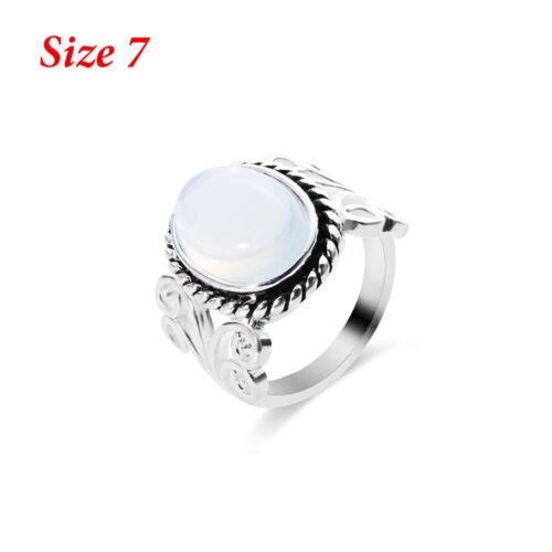 Women/'s Boho Natural Gemstone Sterling 925 Silver Rainbow Moonstone Ring Fashion