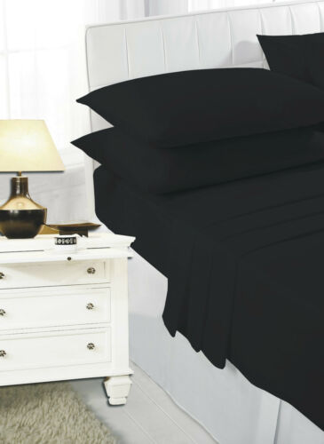 Polycotton Easy Care Plain Dyed Fitted Sheets /& Pillow Cases 18 Colors All Size