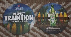 2-HAWAII-COASTERS-HEINEKEN-BEER-GREEN-BOTTLE-HAWAIIAN