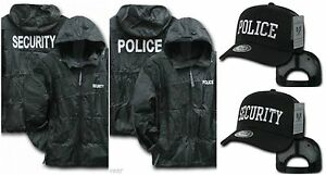 Black-Security-Police-Windbreaker-Zipper-Jacket-Hood-Trucker-Baseball-Hat-Cap