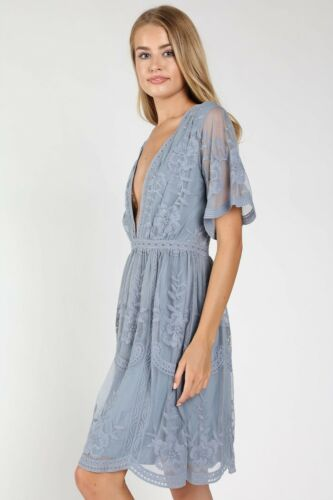 Style 81D1275 Dusty Blue V-neck Embroidered Lace Short Sleeve Dress
