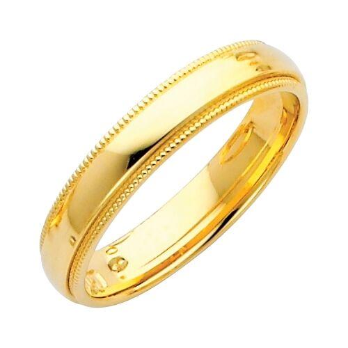 Mens Wedding Band 14k Yellow Gold Ring Solid Milgrain 4 Mm Ebay