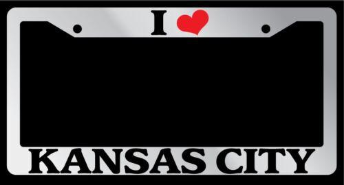 "Chrome License Plate Frame /""I Heart Kansas City/"" Auto Accessory 1498"