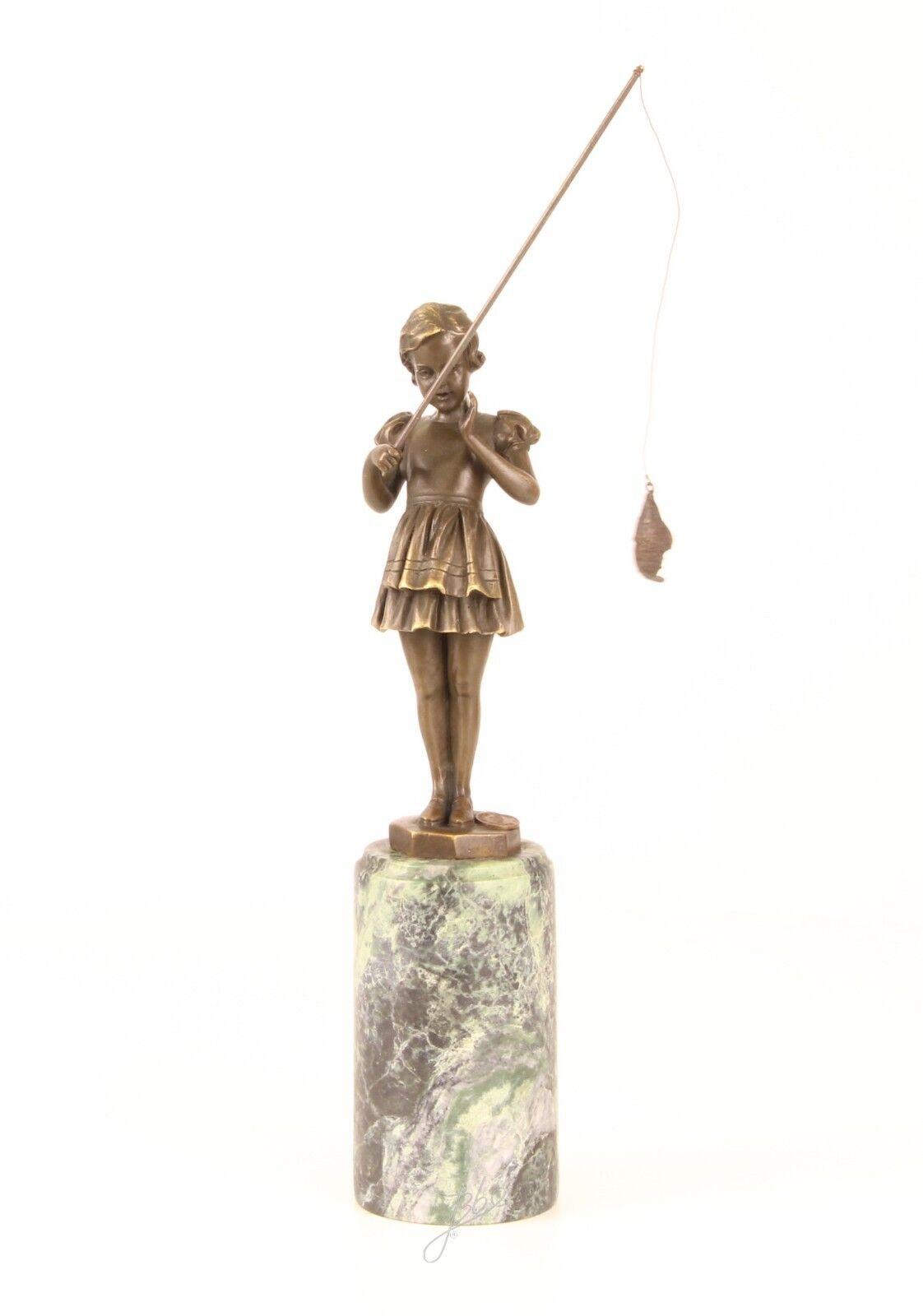 Bronze Skulptur Mädchen beim Angeln neu 9973311-dssp