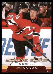 2020-21 UD Series 2 UD Canvas Young Guns #C214 Ty Smith RC - New Jersey Devils