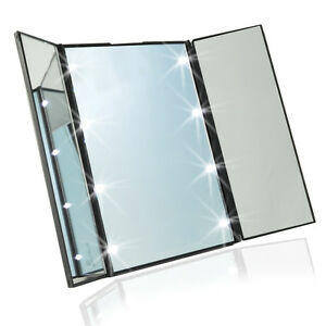 Travel Mirror Compact Pocket Mirror Tri Fold Lighted Led