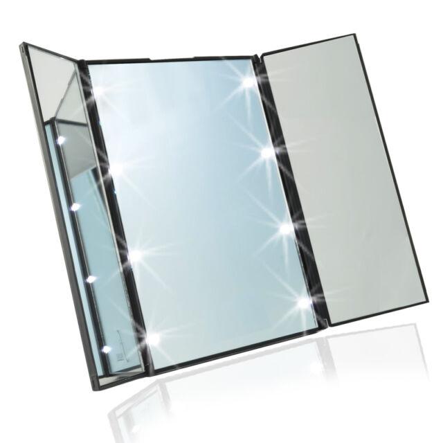 LED Makeup Mirror Toilet Folding Mirror Folding Desktop Portable Mirror S01364