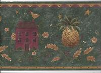 Wallpaper Border Folk Art Primitive Country Pineapple Birds Arrival Green