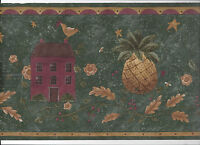 Wallpaper Border Folk Art Primitive Country Pineapple Birds Arrival Green