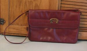 3872e1383d72e Image is loading Etienne-Aigner-Burgundy-Leather-Clutch-PURSE-Handbag -Shoulder-