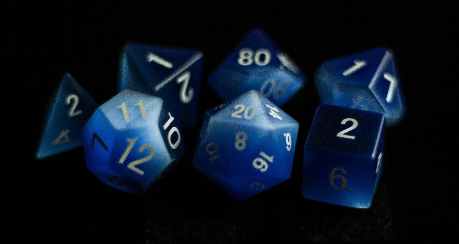 Cat's Eye Frosted bluee  Full-Sized 16mm Polyhedral Dice Set