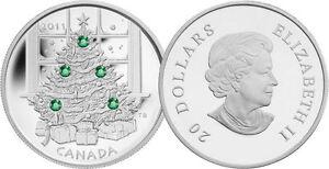 2011-CANADA-20-1oz-9999-FINE-SILVER-Christmas-Tree-SWAROVSKI-CRYSTAL
