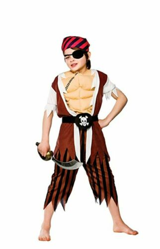 BOYS MUSCLE CHEST FANCY DRESS PIRATE COSTUME WORLD BOOK DAY OUTFIT