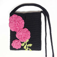 "Cute IPhone Crossbody Bag. Crocheted Cell Phone Case 7"" with Rose Flowers"