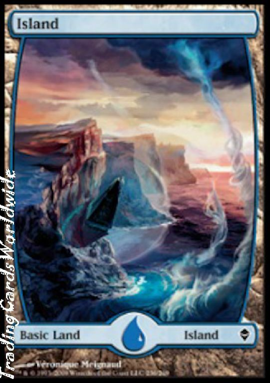 Insel - version 6     aluminiumfolie     nm     zendikar     engl.    magic the gathering