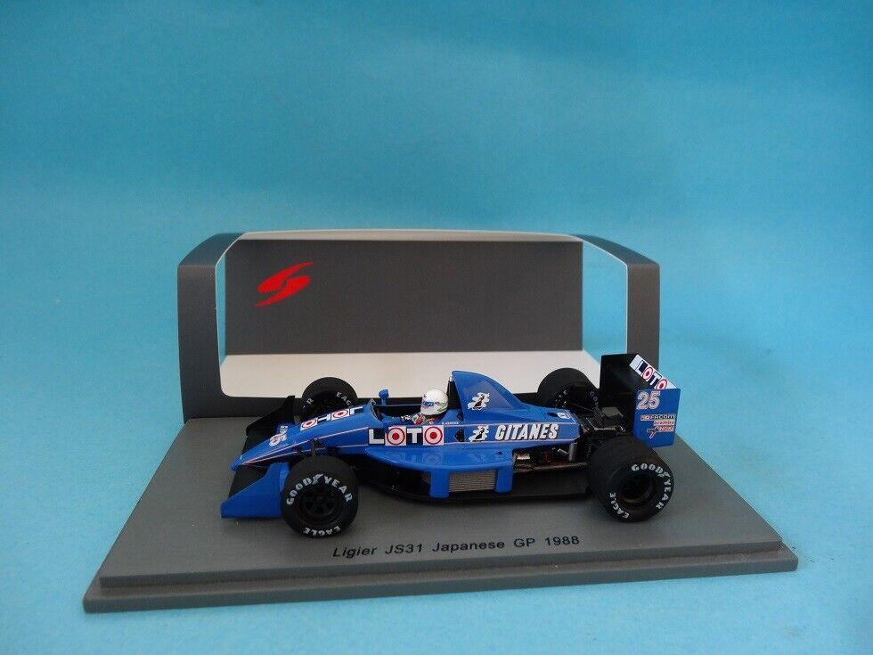 LIGIER JS31  25 - RENE ARNOUX - GP F1 JAPAN 1988 - DECALS - 1 43 nouveau SPARK S3968